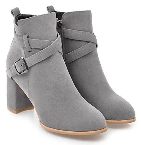 Dress Womens Mid Casual Zip Up Booties Boots Aisun Chunky Inside Ankle Round Gray Heel Strap Buckle Toe xwXqFq