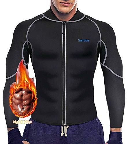 Men s Sweat Neoprene Long Sleeves Sauna Suit Slimming Fitness Jacket Fat Burner Workout Sweatshirts for Weight Loss