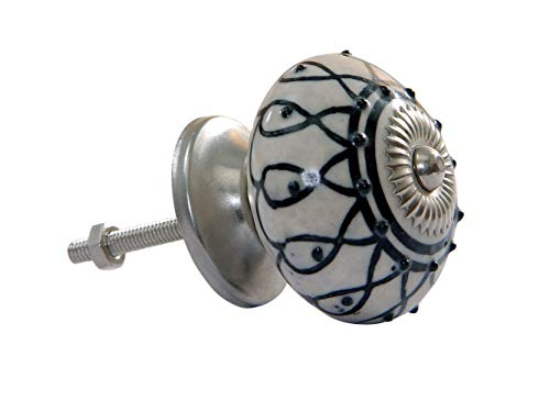 Intradeglobal's Birch Cabinet Novelty Ceramic Knobs (Set of 6) Beautiful Design and Hand-Painted Elegance. Decorative knob Black and White ()
