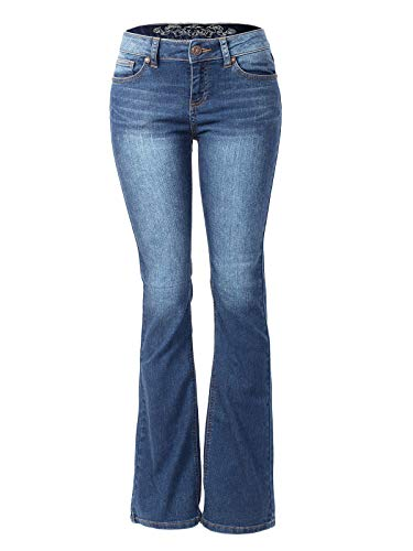 Instar Mode Women's Sexy Stylish Flare Bell Bottom Slim Bootcut Jean Medium Denim 1