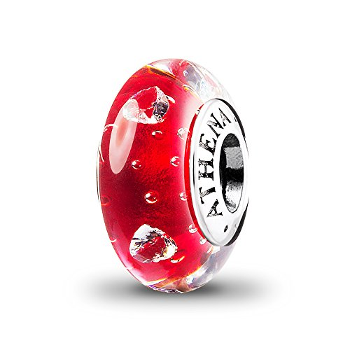 (ATHENAIE Murano Glass 925 Silver Core Cerise Glass Heart Clear CZ Charms Bead Color Red)