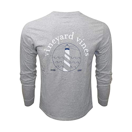 Vineyard Vines Men's Long-Sleeve Graphic Pocket T-Shirt (Gray Heather Lighthouse, Large) from Vineyard Vines