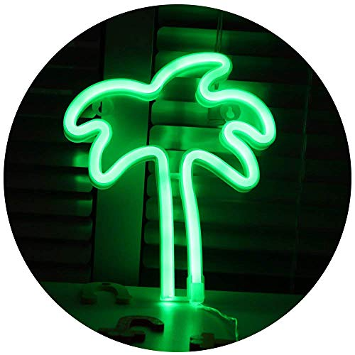 Pooqla LED Coconut Palm Tree Neon Light Sign Wall Decor Night Lights Home Decoration Party Supplies Tropical LED Decorative Lights