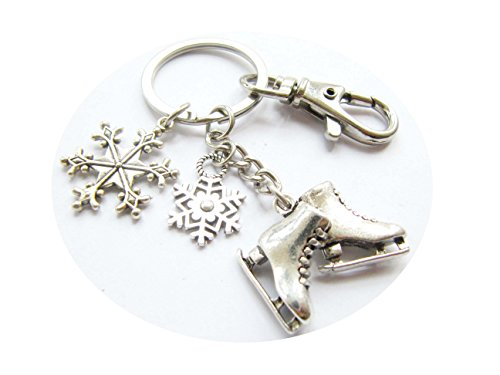 (Ice Skate Keychain Key Ring Ice Skate Charm Keyring Winter Jewelry,Snowflake Charm (#6 Ice Skate Snowflake Swivel Clasp))