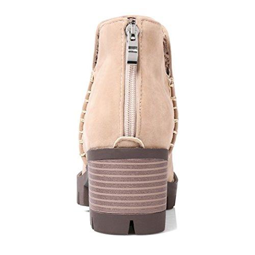 stivali dello studenti apricot Donna Taiwan elegante ZQ stivali gli zipper nudo inverno con e spessore in QX testa impermeabile a dopo tonda In di autunno zwxqzpgf