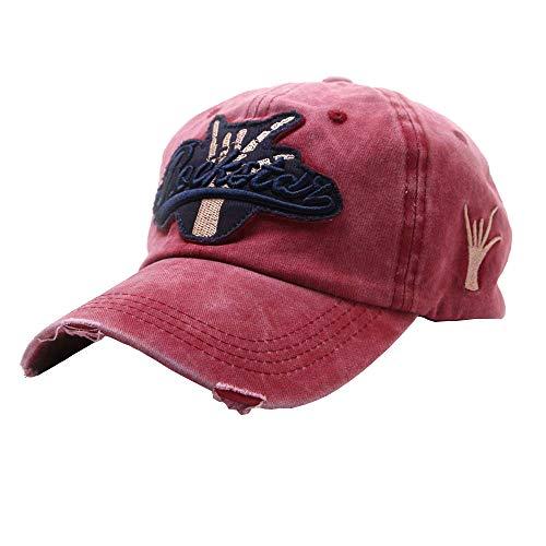 Lefthigh Embroidered Flower Denim Cap, Women Men Finger Victory Baseball Cap Topee