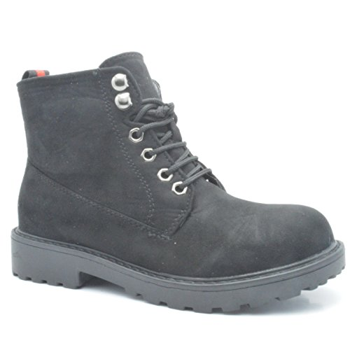 Ladies Boots Black Army Combat Womens 1 Shoes Sole Grip UK 920 SHOEWORLD Lined Winter Flat Ankle 7 atICwq