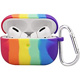 Hisri Compatible for AirPods Pro Case Cover, Colorful Silicone Soft Protective Case for AirPods Pro 2019 (Rainbow)