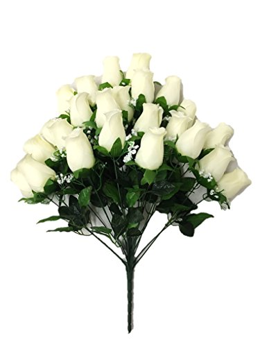 Silk Flower Garden 24 Heads Rose Bud Bouquet 24\