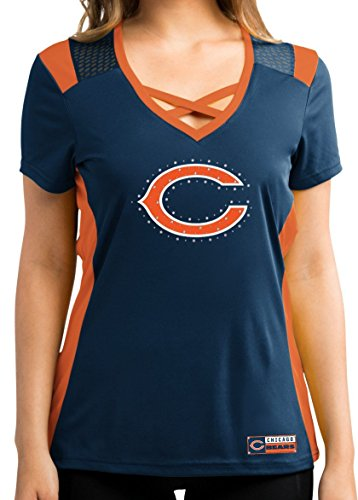 Chicago Bears Women's Navy Draft Me Jersey V-Neck T-shirt Small