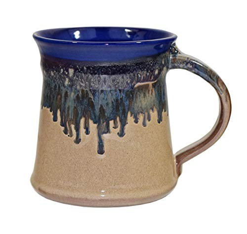 Clay in Motion 16 oz Mug - Medium Handmade Pottery Ceramic Coffee Cup - Cobalt Canyon