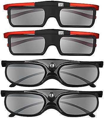 BOBLOV 3D Gafas Activas de Obturador, 96-144Hz 3D Gafas DLP-Link para DLP Proyector Optoma/BenQ/Sharp/Acer/Samsung/Mitsubishi/ViewSonic/LG ect (4 ...