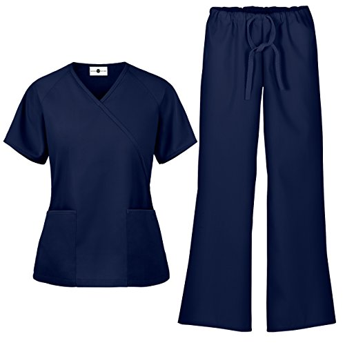 Women's Scrub Set/Medical Mock Wrap Top & Drawstring Scrub Pant (XS-3X, 7 Colors) (Medium, Navy) -
