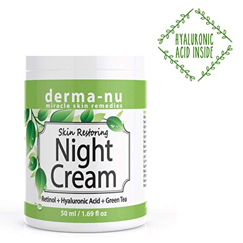 Derma Moisturizer Hydrating (Anti Aging Night Cream for Face - Natural Skin & Neck Firming Anti Wrinkle Moisturizer - Age Defying Hydrating Care with Retinol, Hyaluronic Acid and Green Tea for Sensitive, Dry or Oily skin)