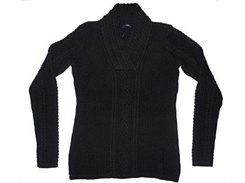 Nautica Women's Shawl Collar Fisherman Cable Knit Long Sleeve Sweater (XX-Large, Black)