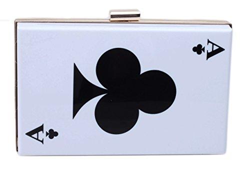 Good Night Fruit/ Poker Printed Clip Clasp Square Evening Clutch Crossbody Bag Purse Clubs A