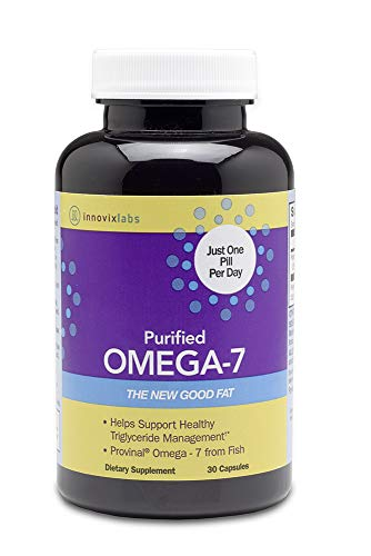 InnovixLabs Purified Omega 7. The Healthy Fat in Fish and Macadamia. 210 mg Omega-7 per Pill as Triglyceride-Form Palmitoleic Acid. 30 Capsules (1 Month Supply).