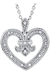 Diamond Heart Pendant with Chain in Sterling Silver (1/10 cttw)