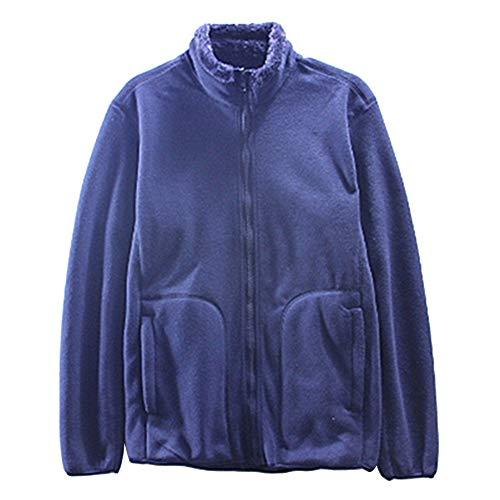 CactusAngui Sudadera de Invierno Abrigo Casual Hombres Color sólido Cuello Alto Chaqueta Gruesa Zip Up Navy Blue XXXL