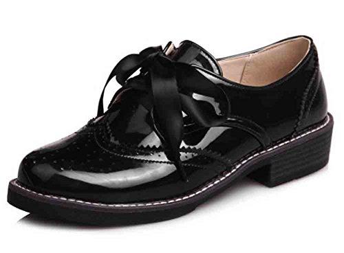 Easemax Womens Fashion Rund Tå Lågt Skuren Snörning Låga Blocket Häl Oxfords Skor Svart