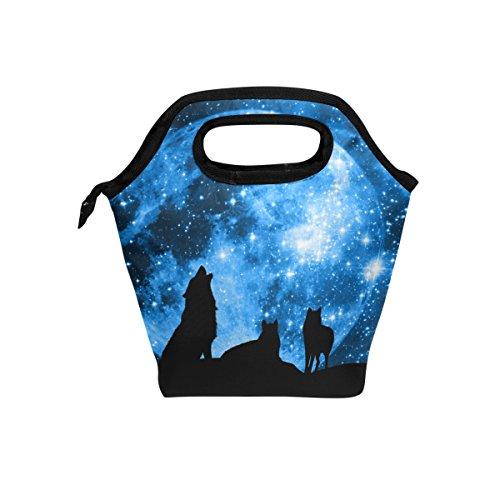 JOYPRINT Lunch Box Bag, Animal Wolf Galaxy Star Moon Insulated Cooler Ice Lunchbox Tote Bag Handbag for Men Women Kids Adult Boys Girls