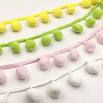 Yalulu 10 Yards Pom Pom Ball Fringe Pom Pom Trim Ribbon Sewing Accessory Lace for Home Decoration Yellow