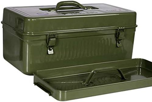ツールオーガナイザー 道具箱の貯蔵および交通機関のための道具箱の携帯用増粘の錬鉄の耐久の道具箱 ポータブルツールボックス (Color : Green, サイズ : 450mm)