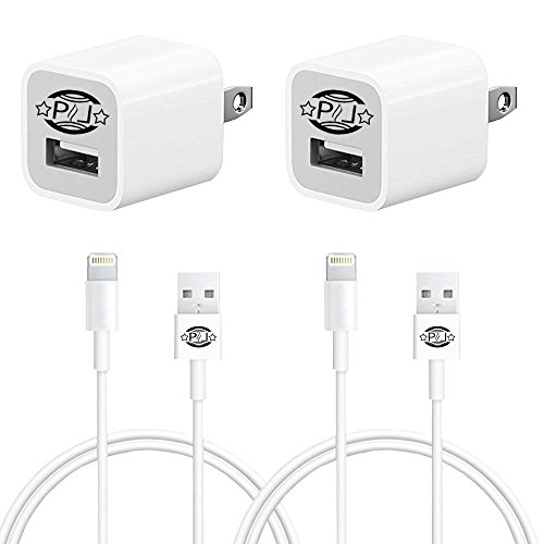 PHL 4in1Combo of 2 Usb Data Cables, 2 Wall Charger Compatible with Iphone 5/5c/5s/6/6+/Plus/SE, Ipad Air/4/mini, Ipod Touch 5, Ipod Nano 7 (WHITE2) (Phone 5 Accessories compare prices)