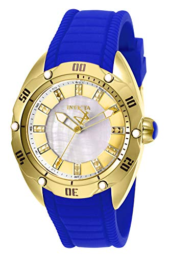 Invicta Women's 'Venom' Quartz Stainless Steel and Silicone Watch, Color:Blue (Model: 25961)