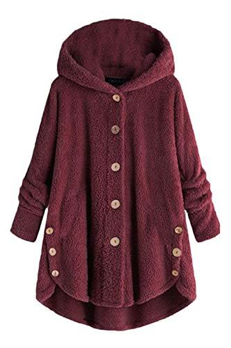 Talla Para Mujer Abrigo Piel Capucha Grande Borgoña De Asimétrica Sintética Con tx86q1U