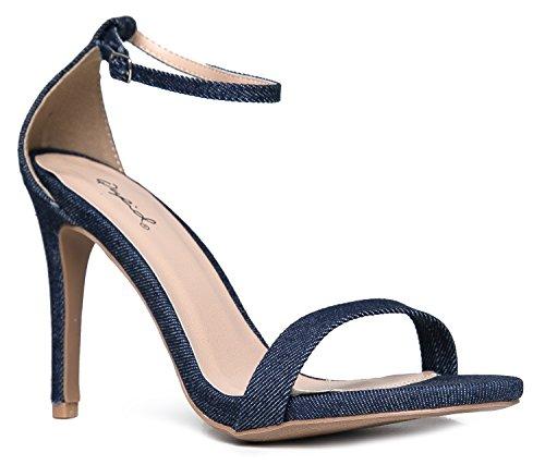 (Qupid Women's Grammy-01 Dress Sandal Blue Denim- 7.5 B(M) US)