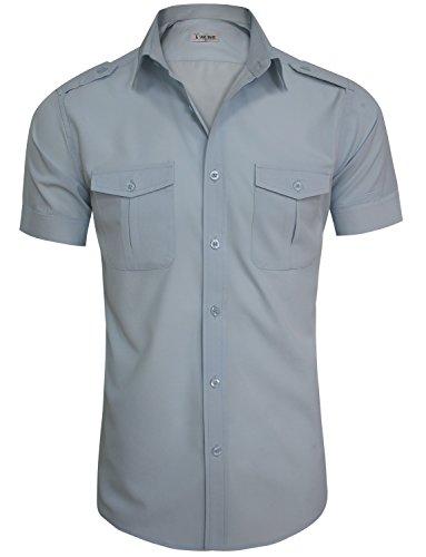 TAM WARE Mens Casual Plain Short Sleeve Button Down Shirts TWCMS19A-S20-BLUE-US XL