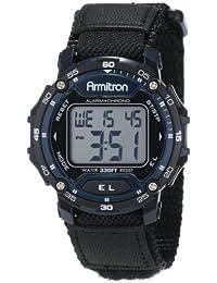 Armitron Sport Unisex 40/8291BLU Black Sport Watch with Hook-and-Loop Strap