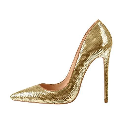 Onlymaker High Heel Women's Sexy Pointed Toe Slip On Stiletto Pumps Party Wedding Banquet Bling Sequins Shoes Gold US 11