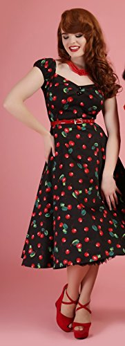Kirschen Collectif Kleid Schwarz Doll Cherry Kirschen Dolores Damen Dress mit x1rXw7qxS