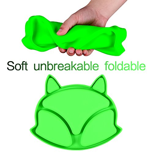 SJ Baby Placemat Fox Silicone Placemat Feeding Plate for Children, Kids, Toddlers, Non-Slip Baby Plates, Dishwasher and Microwave Safe - Soft FDA/LFGB Certified Silicone (Green) by SJ (Image #3)