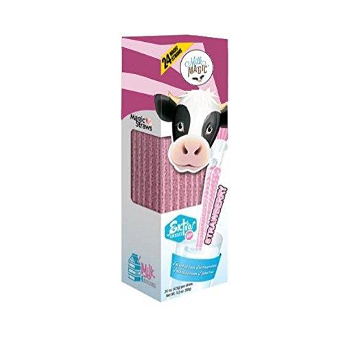 Insert Milk Glass - Milk Magic Milk Flavoring Magic Straws Assorted Flavors (Strawberry, 24 Count)