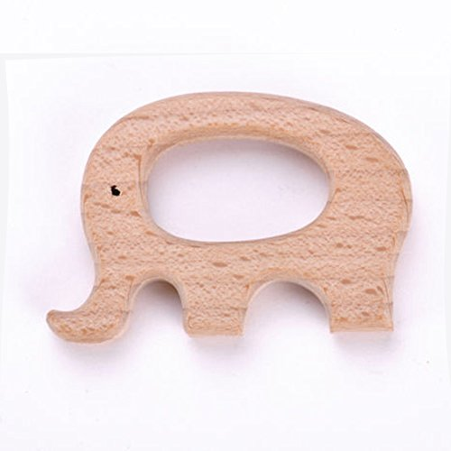 wintefei Safe Natural Wooden Animal Shape Ring Baby Boy Girl Teether Teething Shower Toy -elephant