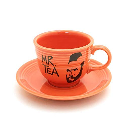 Red Vintage Upcycled Mr. Tea Cup and Saucer