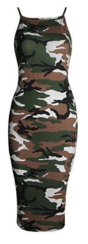 Army Dress (Forever Womens Plain Strappy Viscose Bodycon Long Midi Dress)