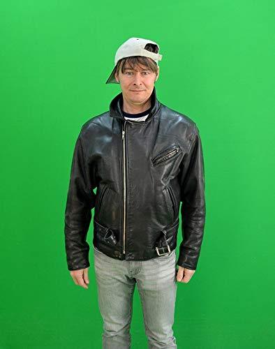 Home Comforts Canvas Print Man Greenbox Medium Chroma Key Cap Leather Jacket Vivid Imagery Stretched Canvas 32 x 24