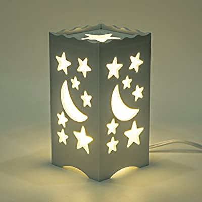 DIJIANI Bedside Table Lamp Simple Night Stand Lamp Contemporary Small Bedside Desk Lamp with Stars Cutout for Living Room, Bedroom, Study, Hotel