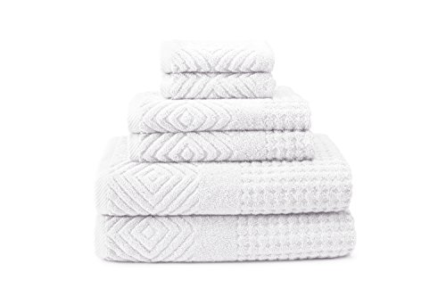 (100% Organic Cotton Jacquard 6 Piece Towels - Stylish Gifts by Texere (Tansy, 6-Piece Set, Bright White) from Daughter TX-HC263-001-BRWH-R-6)