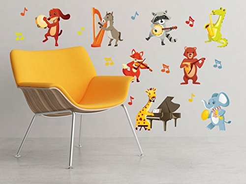Elephant Decal Set - Musical Animals Fabric Wall Decals - Set of 8 Animals Playing Instruments - Dog, Horse, Elephant, Giraffe, Fox, Bear, Raccoon, and Alligator - Removable, Reusable, Respositionable