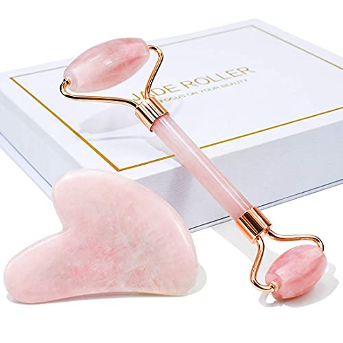 BAIMEI Jade Roller, Rose Quartz Roller & Gua Sha Set, Facial Roller Beauty Massage Tool