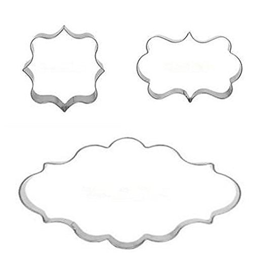 gloednApple 3pcs Decorating Plaque Frame Stainless Steel Biscuit Cookie Cutter Fondant Cake Mold Mould Set
