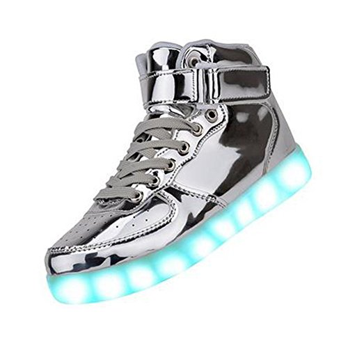 Women High Top USB Charging LED Shoes Flashing Sneaker (9US, Silver)