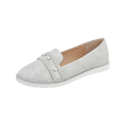 Ital-Design Women's Loafer Flats Flat Slippers at Silver Grey N-56 lm34Up