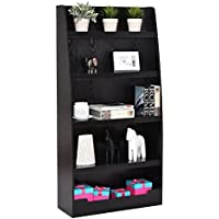 Black Wooden Bookcase Bookshelf Books Magazines Decorative Large Storage Space Display Organizer Shelves Rack 5 Layers Design Home Office Bedroom Living Room Furniture Décor Elegant Appearance
