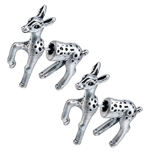 (Antique Silver 1 Pairs 3d Fake Bambi Deer Faux Plug Animal Earrings Minimalist)